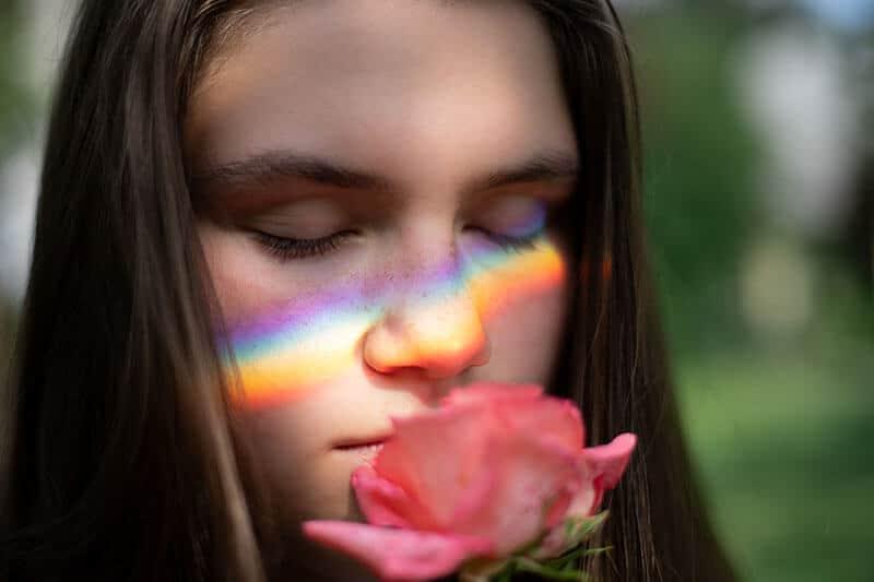smelling-pink-rose